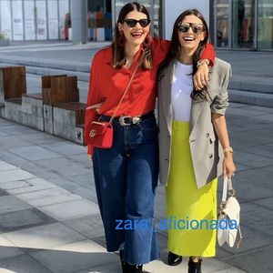 Zara Lime Neon Highlighter Satin Skirt 4661/186